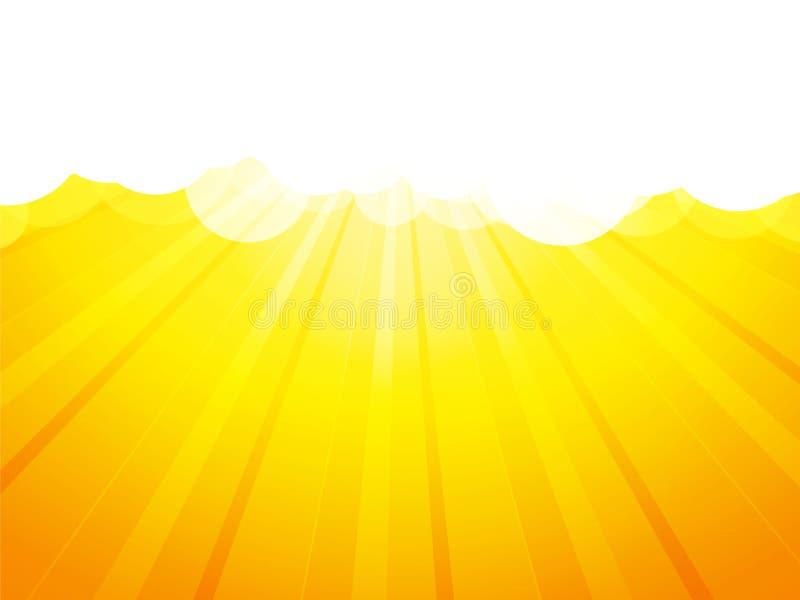 云彩有光芒黄色背景 向量例证