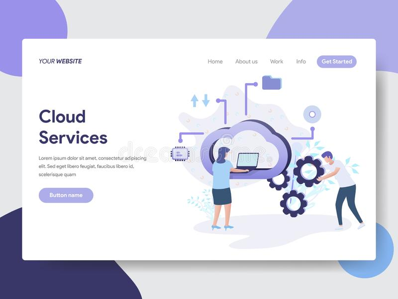 云彩服务例证概念登陆的页模板  网页设计的现代平的设计观念网站和机动性的 向量例证
