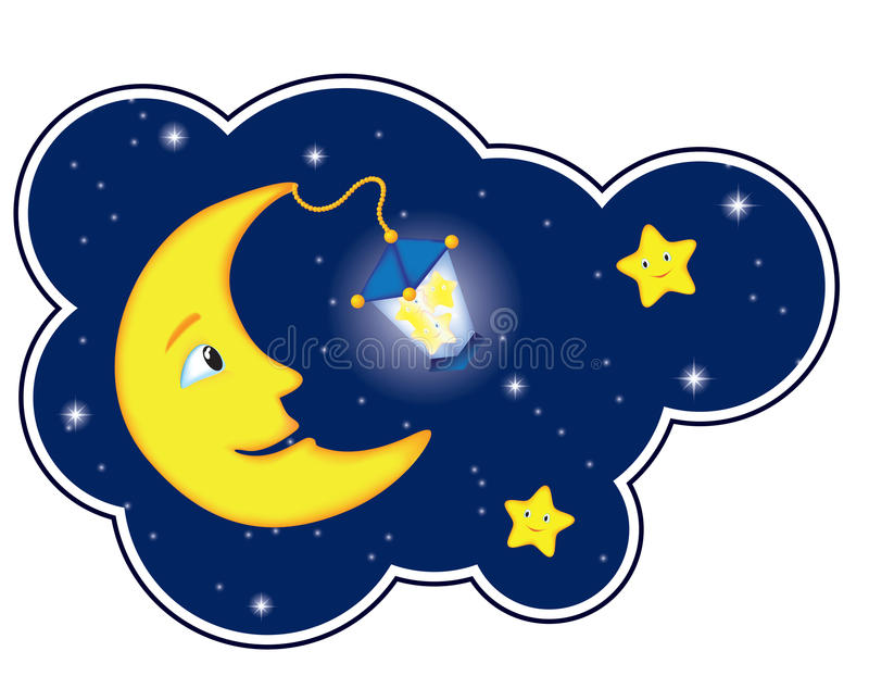 云彩框架月光晚上 向量例证
