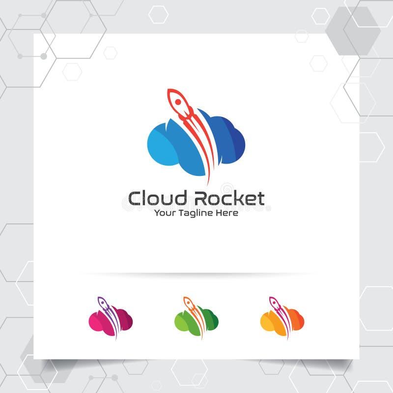 云彩火箭商标与五颜六色的云彩样式的概念的传染媒介设计 主持主持的云彩提供者传染媒介例证, 皇族释放例证