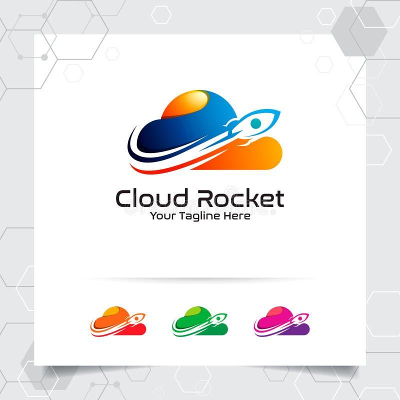 云彩火箭商标与五颜六色的云彩样式的概念的传染媒介设计 主持主持的云彩提供者传染媒介例证, 库存例证