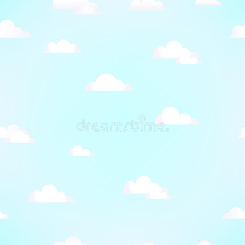 云彩的无缝的样式在蓝天的 向量背景 向量例证