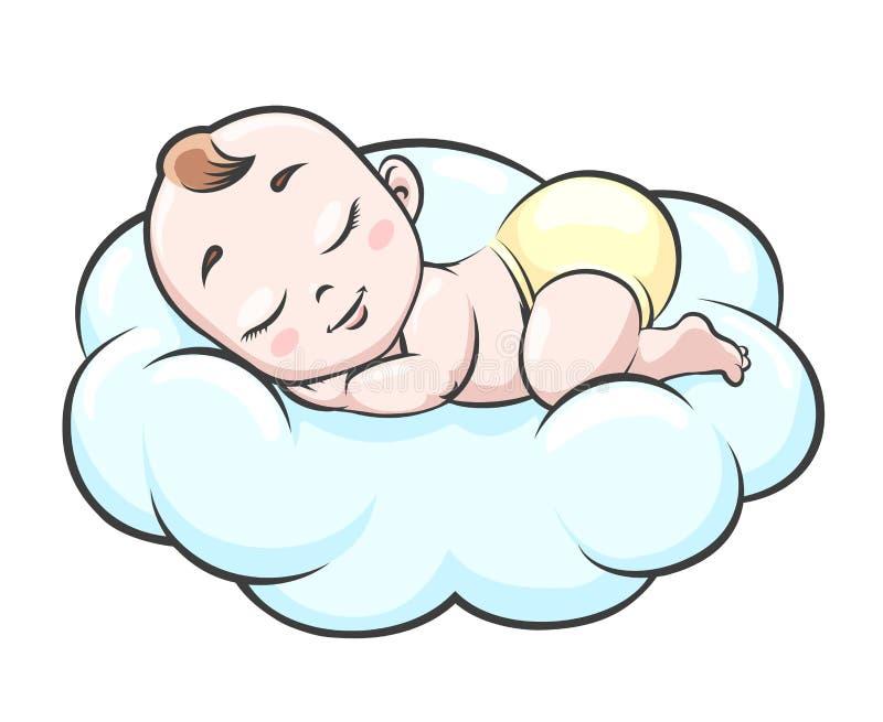 云彩的睡觉的婴孩 库存例证