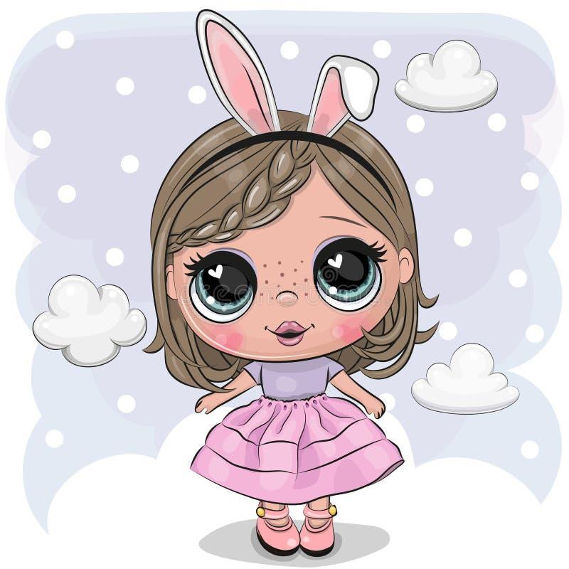 云彩的逗人喜爱的动画片女孩 库存例证