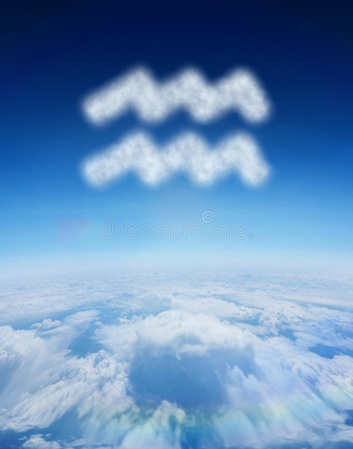 云彩的综合图象在宝瓶星座星标志形状的  库存例证