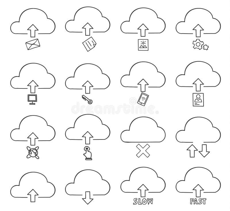 云彩稀薄的象集合手拉的传染媒介线艺术例证 库存例证