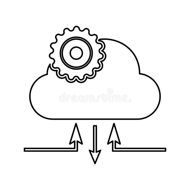 云彩管理象 网络安全的元素流动概念和网应用程序象的 网站设计的稀薄的线象和 皇族释放例证