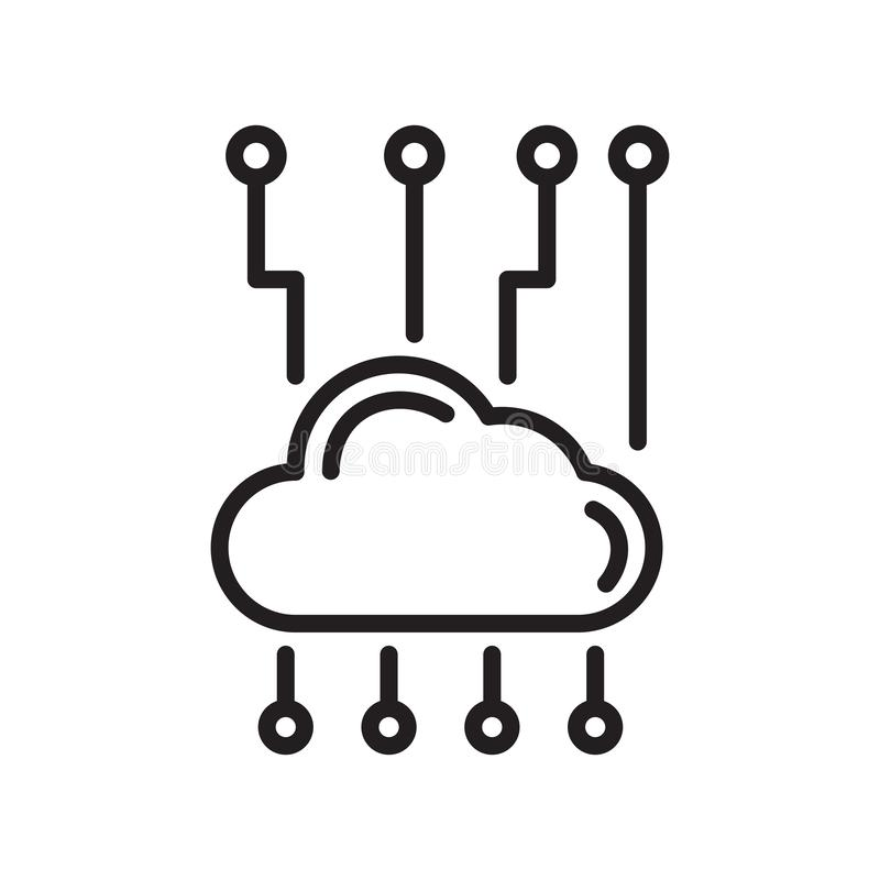 云彩网络象在白色后面和标志隔绝的传染媒介标志 向量例证