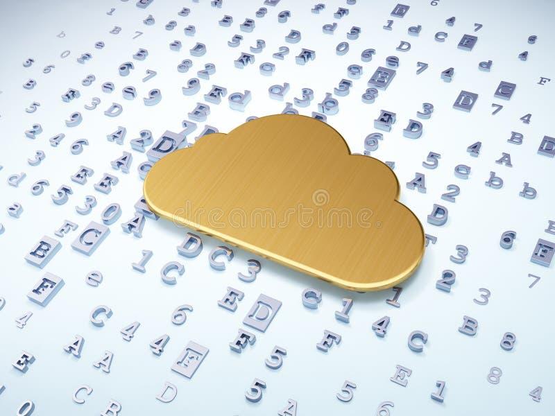 云彩网络概念:在数字式金黄云彩 皇族释放例证