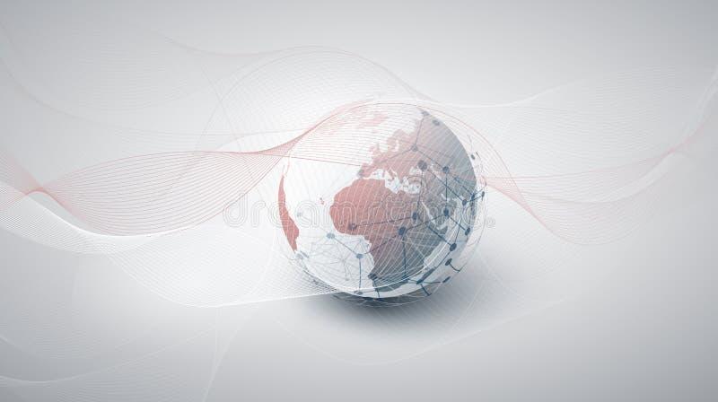 云彩计算和与地球地球的网络概念 免版税库存照片