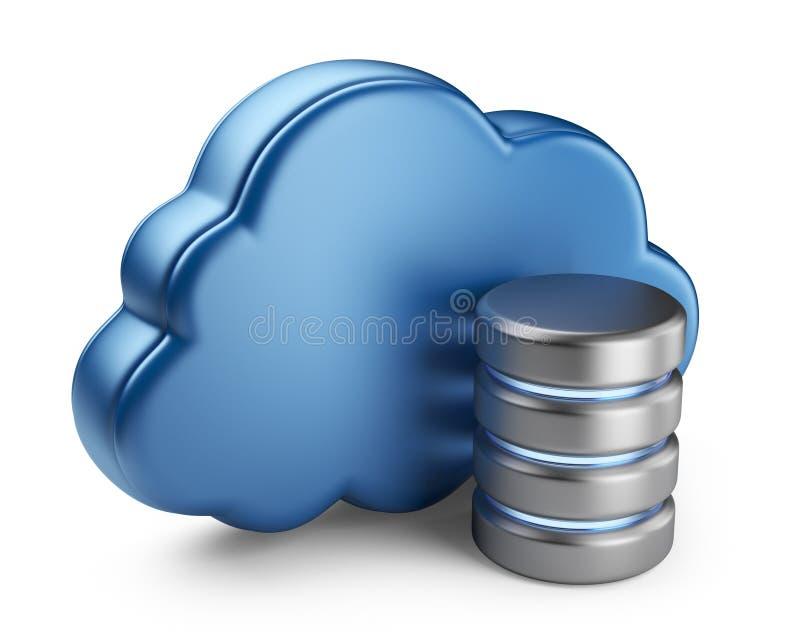 云彩计算和数据库。 3D查出的图标 向量例证