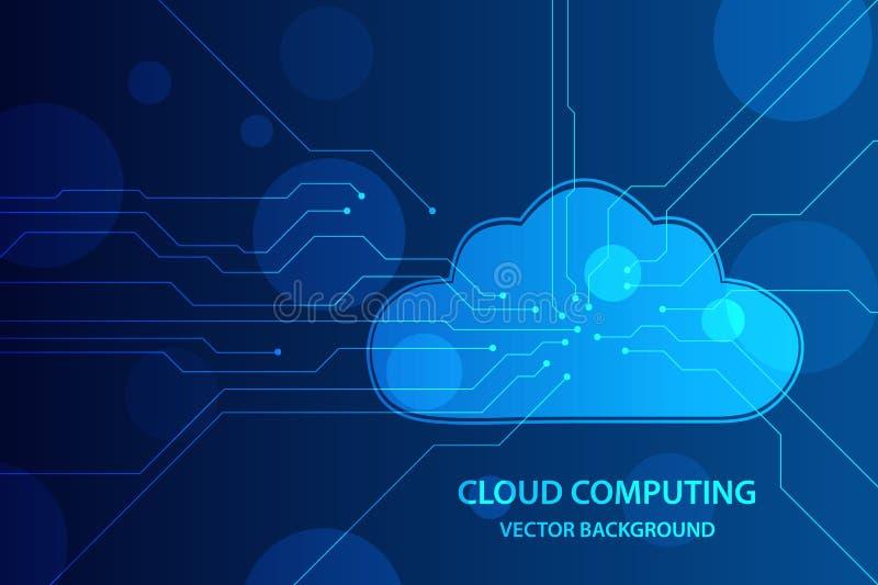 云彩计算和网络安全技术概念,与电路板线的云彩在蓝色背景中 向量背景 库存例证