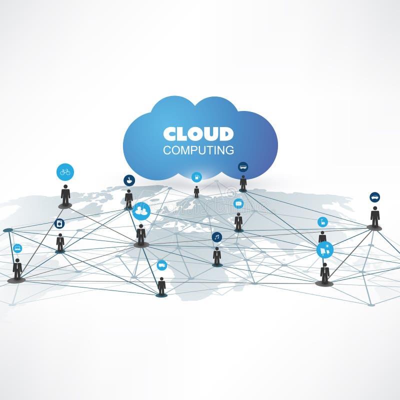 云彩计算和网络设计与象-数字网连接,技术背景的概念 库存例证