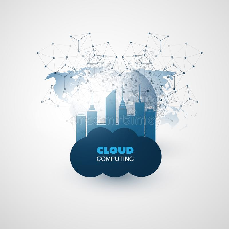 云彩计算和聪明的城市设计观念-全球性数字网连接,技术背景 向量例证