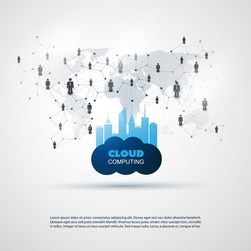 云彩计算和聪明的城市设计观念-数字式和企业网络连接,技术背景 向量例证