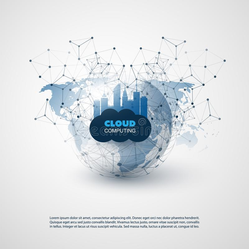云彩计算和聪明的城市设计观念-数字网连接,技术背景 库存例证