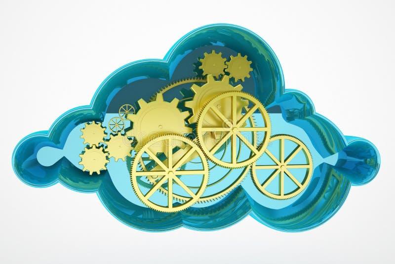 云彩计算和轮子概念 皇族释放例证