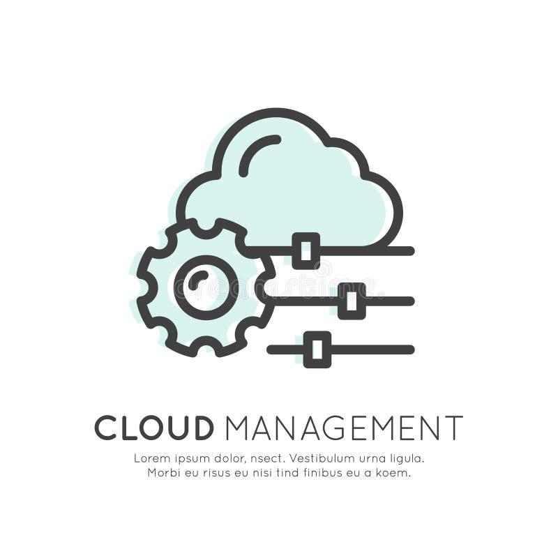 云彩计算技术,主持,云彩管理、数据保密、服务器存贮、Api、机动性和桌面记忆 库存例证
