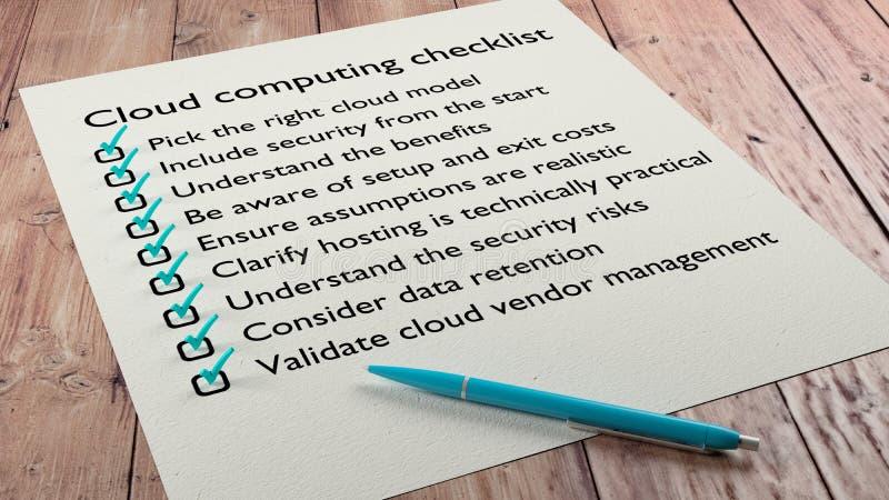 云彩计算的准备清单纸和笔 库存例证