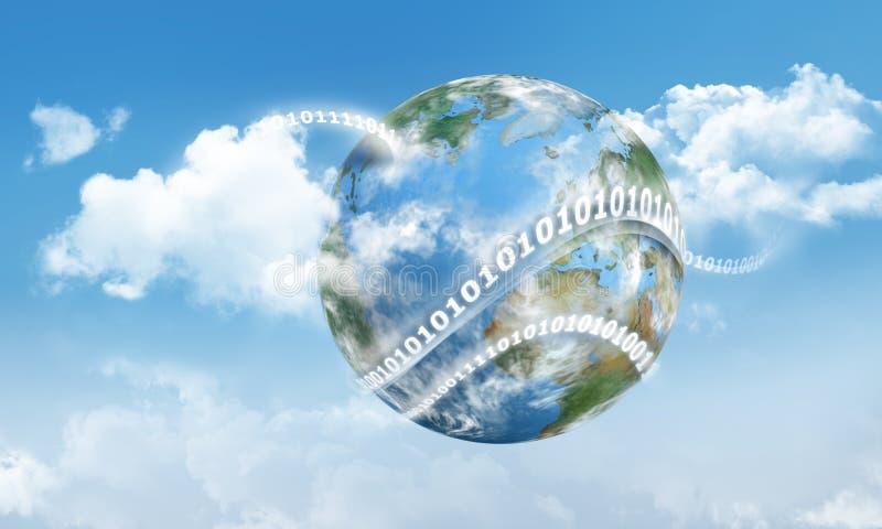 云彩计算的地球和数字 向量例证
