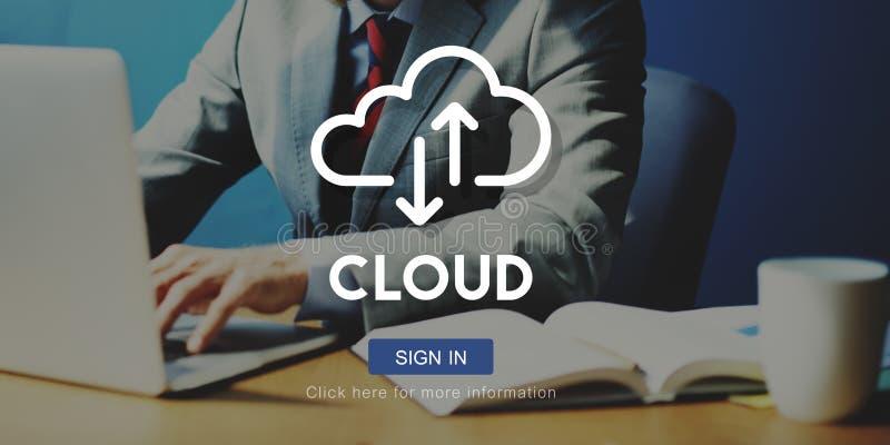 云彩计算的数据库服务器网络概念 免版税库存照片
