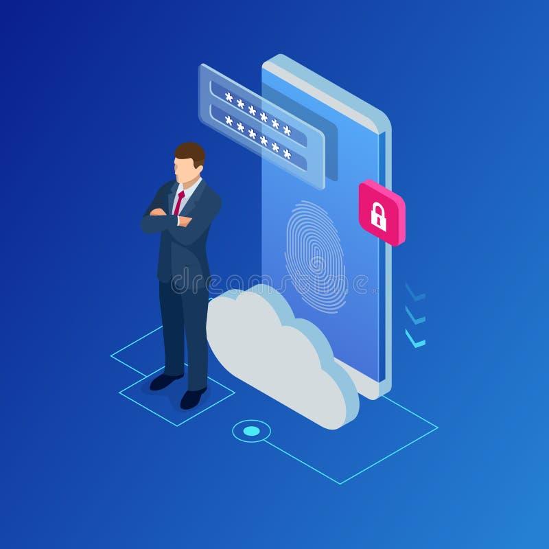 云彩计算的服务和技术的,数据存储等量网横幅 库存例证
