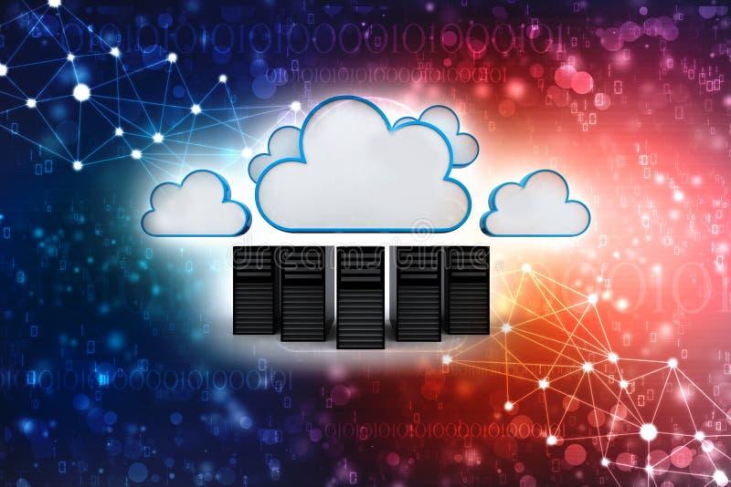 云彩计算的概念在数字式背景中 3d回报 库存例证