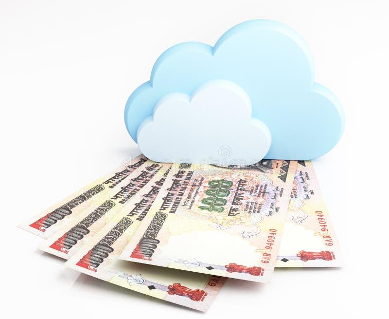 云彩计算的概念,印度卢比 库存例证
