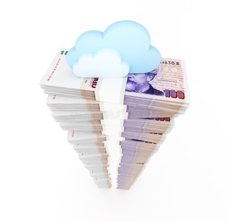 云彩计算的概念,金钱 库存例证