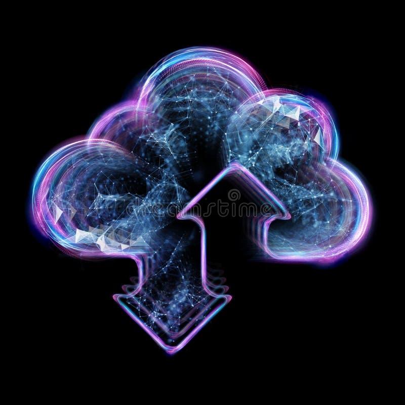 云彩计算的概念-连接到云彩 商人或信息工艺师有云彩计算的象的 皇族释放例证
