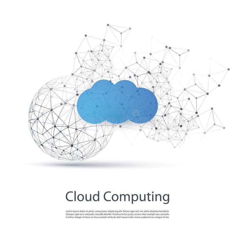 云彩计算的设计观念-数字网连接,技术背景 向量例证