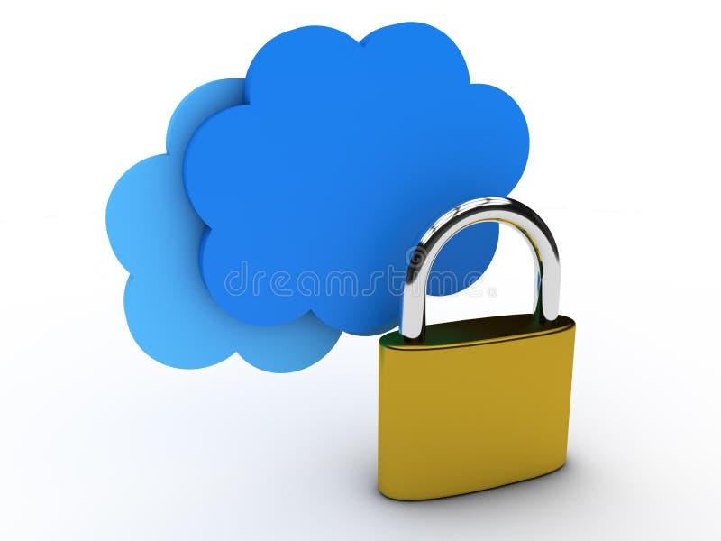 云彩计算的锁定安全 库存例证