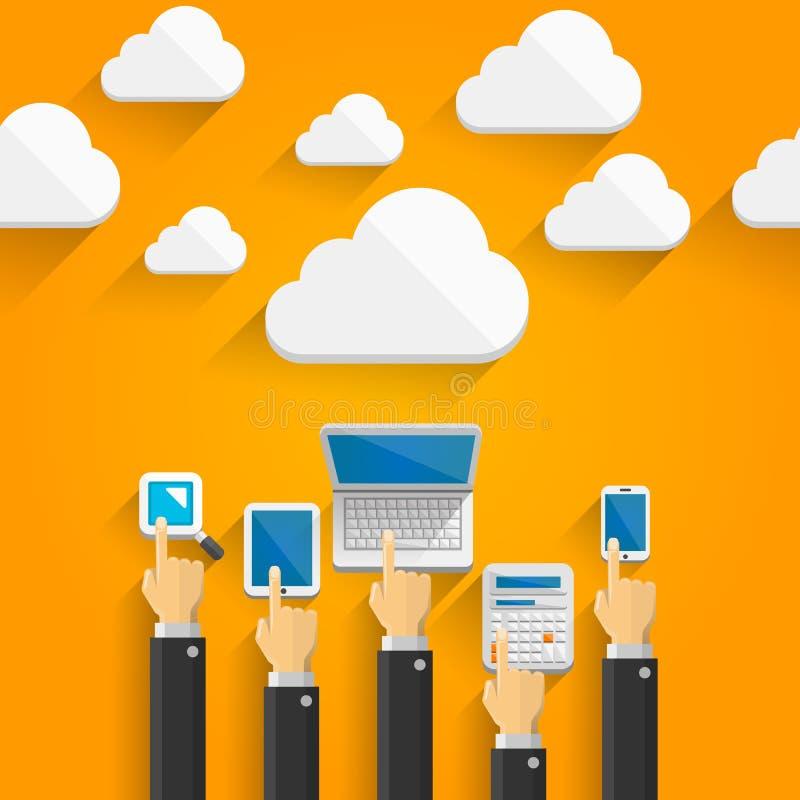 云彩设备用手 库存例证