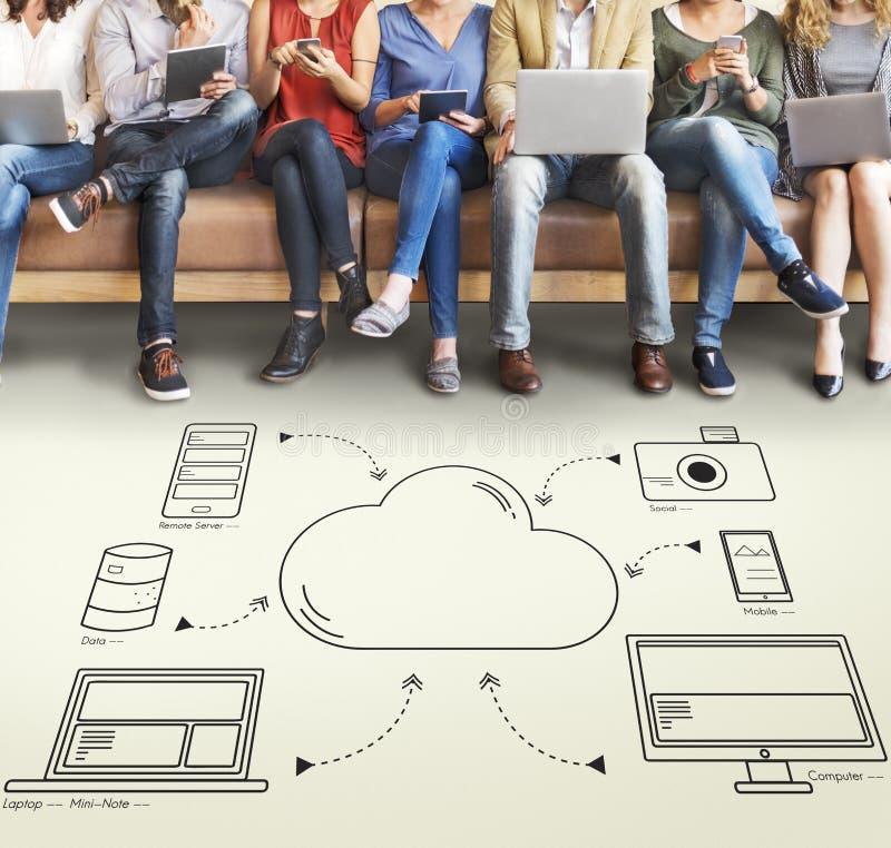 云彩调动数据连接网络概念 免版税图库摄影