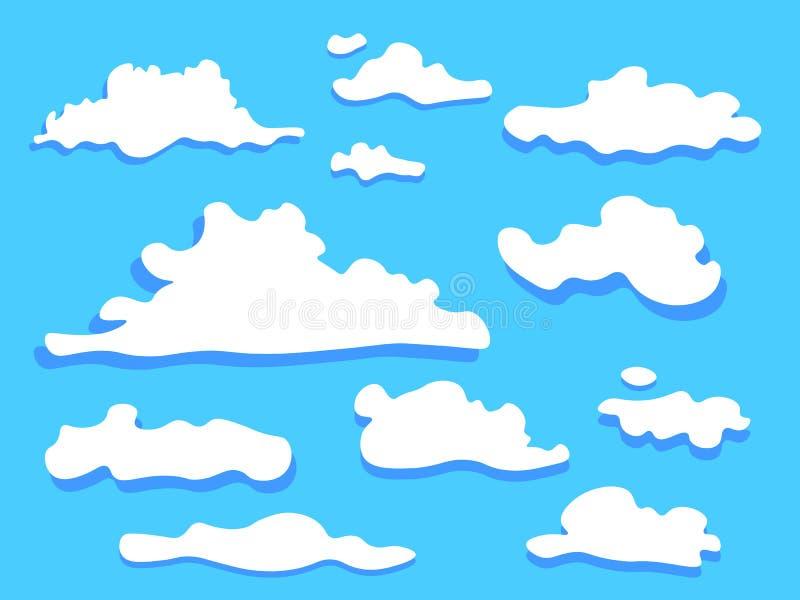 云彩象集合白色颜色 库存例证