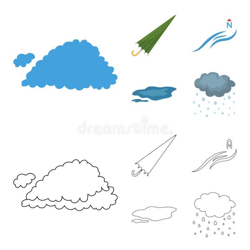 云彩,伞,北风,在地面上的一个水坑 在动画片,概述样式的天气集合汇集象 库存例证
