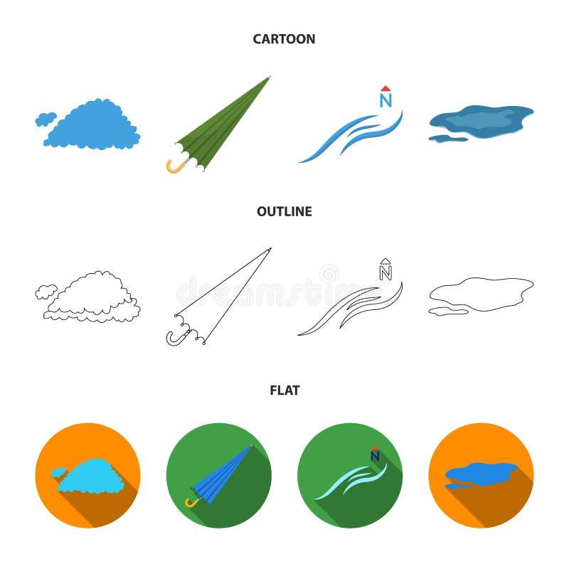 云彩,伞,北风,在地面上的一个水坑 在动画片,概述,平的样式的天气集合汇集象 库存例证