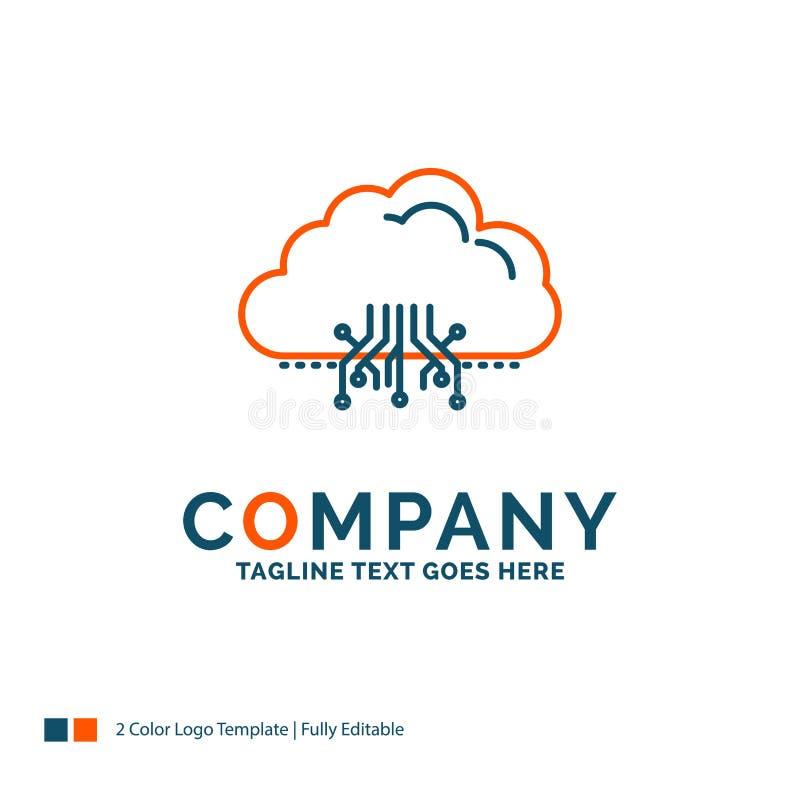 云彩,计算,数据,主持,网络商标设计 蓝色和O 库存例证