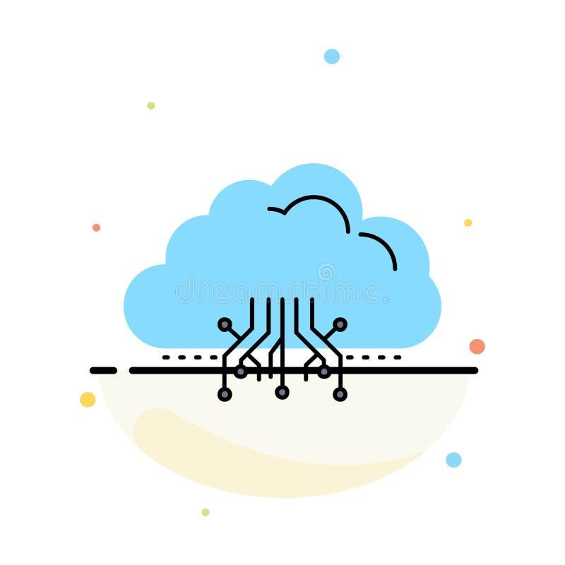 云彩,计算,数据,主持,网络平的颜色象传染媒介 库存例证