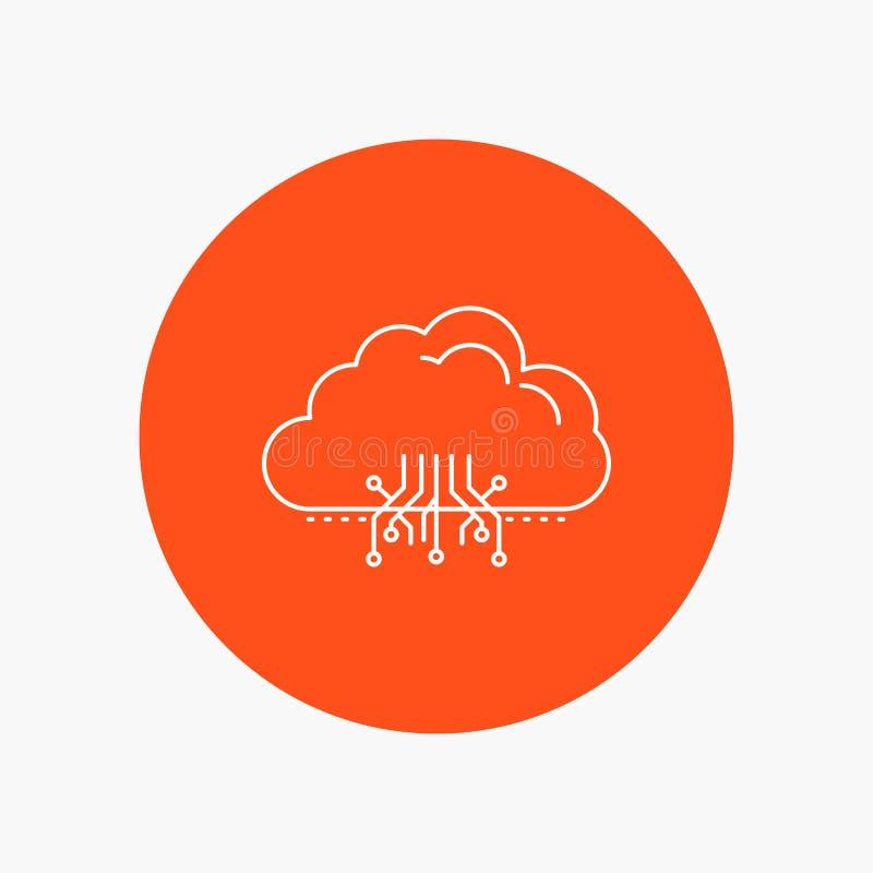 云彩,计算,数据,主持,网络空白线路象在圈子背景中 r 皇族释放例证