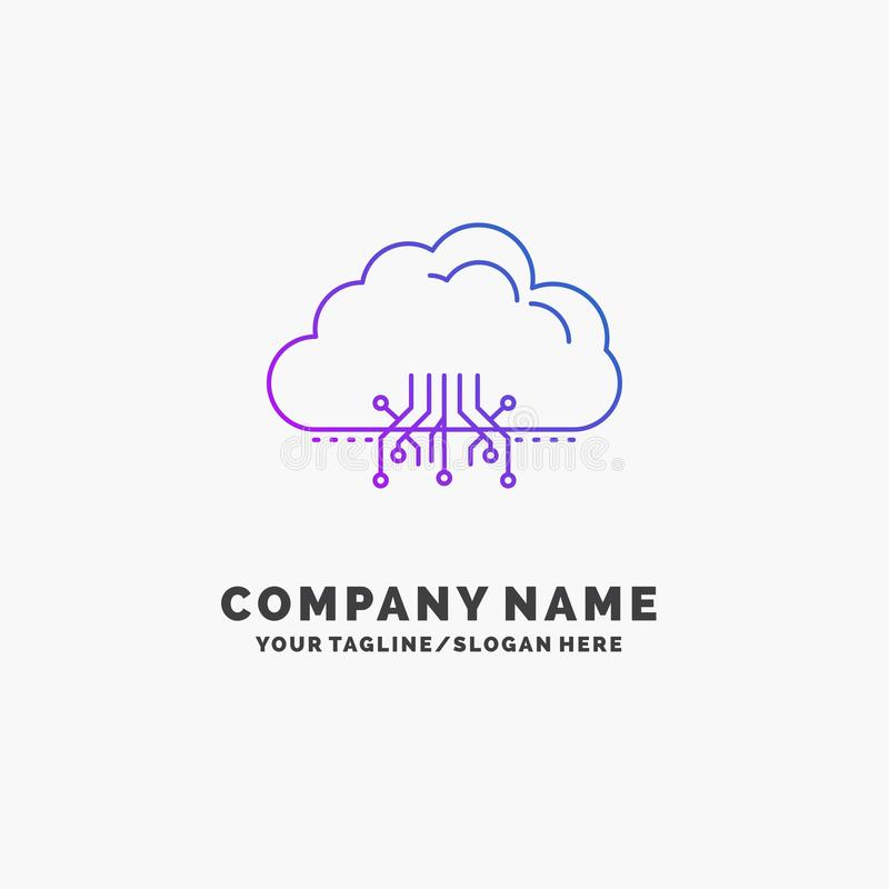 云彩,计算,数据,主持,网络紫色企业商标模板 r 向量例证