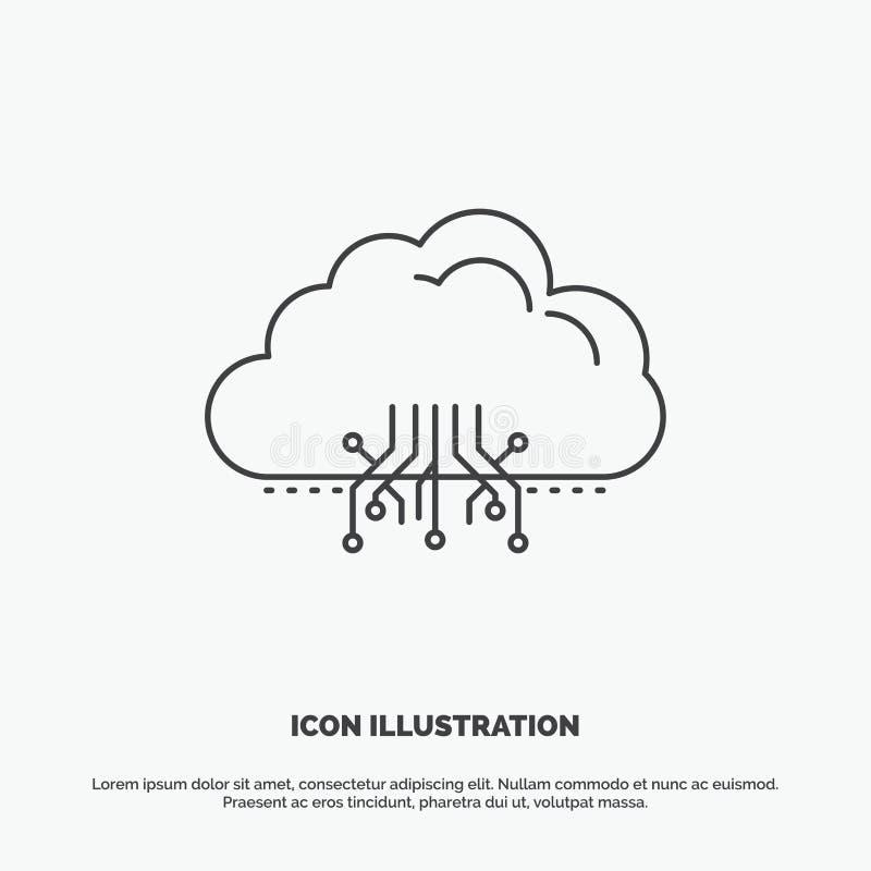 云彩,计算,数据,主持,网络象 r 向量例证