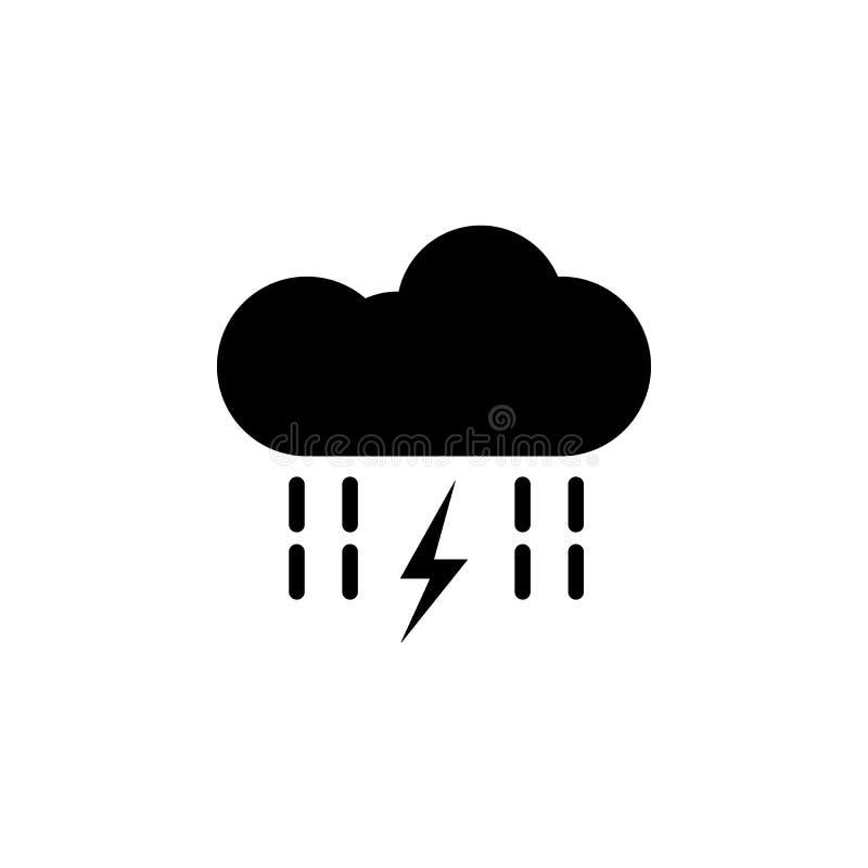 云彩,雨,闪电,在白色背景的能量象 能为网,商标,流动应用程序,UI UX使用 皇族释放例证
