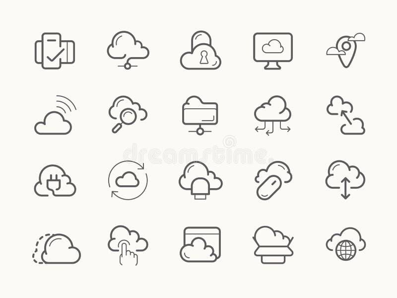 云彩主持线象的服务服务器 库存例证