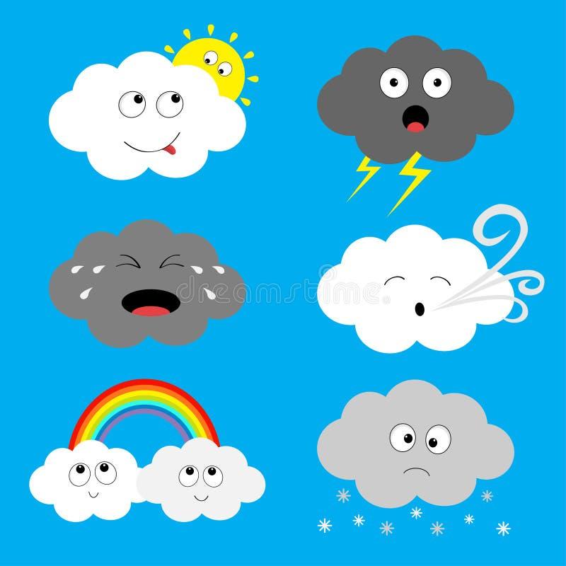 云彩emoji象集合 太阳,彩虹,雨下落,风,雷电,风暴闪电 白色灰色颜色 覆盖蓬松 逗人喜爱的动画片c 库存例证