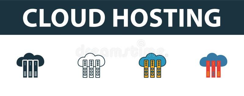 云托管图标集 Web托管图标集合中四个不同样式的简单符号 Creative cloud hosting icons 皇族释放例证