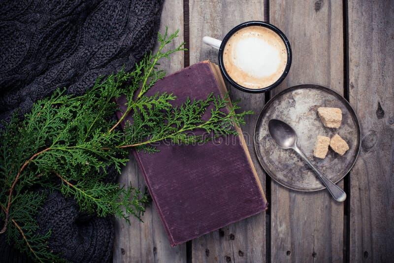 云杉、温暖的毛线衣和杯子咖啡分支用糖 库存图片