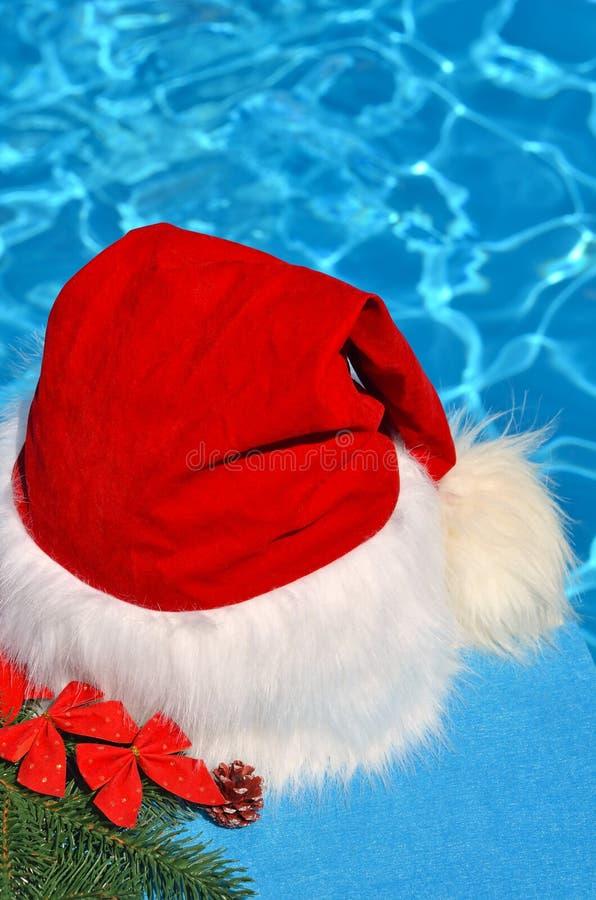 云杉和玩具枝上的圣诞帽 库存照片