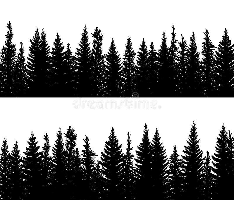云杉的具球果森林水平的横幅剪影  库存例证