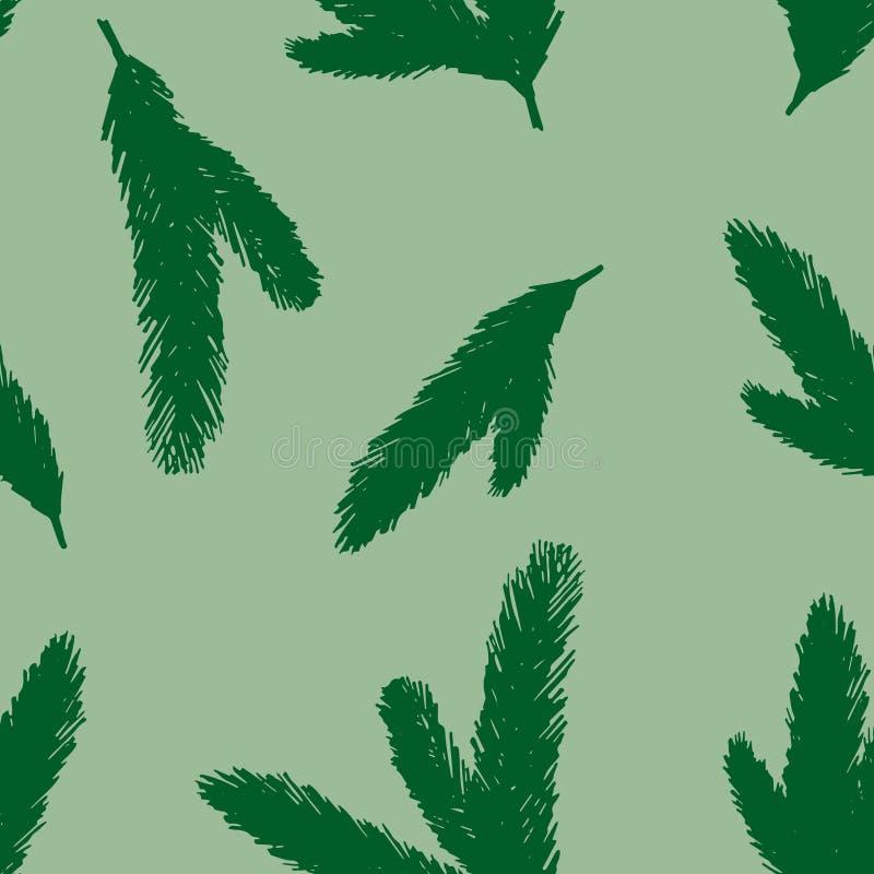 云杉的树早午餐的绿色无缝的传染媒介样式 装饰圣诞节或新年 库存例证